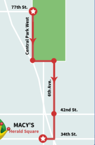 The parade begins from 77th Street and Central Park West at 9 a.m. The route continues down Central Park West to Columbus Circle,then turning onto Central Park South and 6th Avenue. Heading straight down onto 6th Avenue down to 34th Street until Macy's Herald Square.